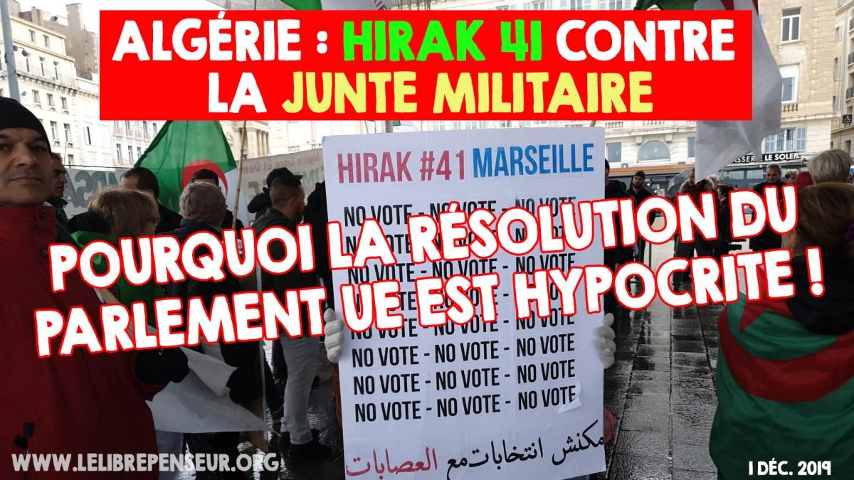 41e hirak marseillais : pourquoi la résolution du Parlement UE est hypocrite !