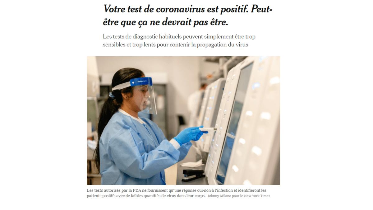 Le New York Times doute de la pertinence des tests PCR (90% de faux +) !