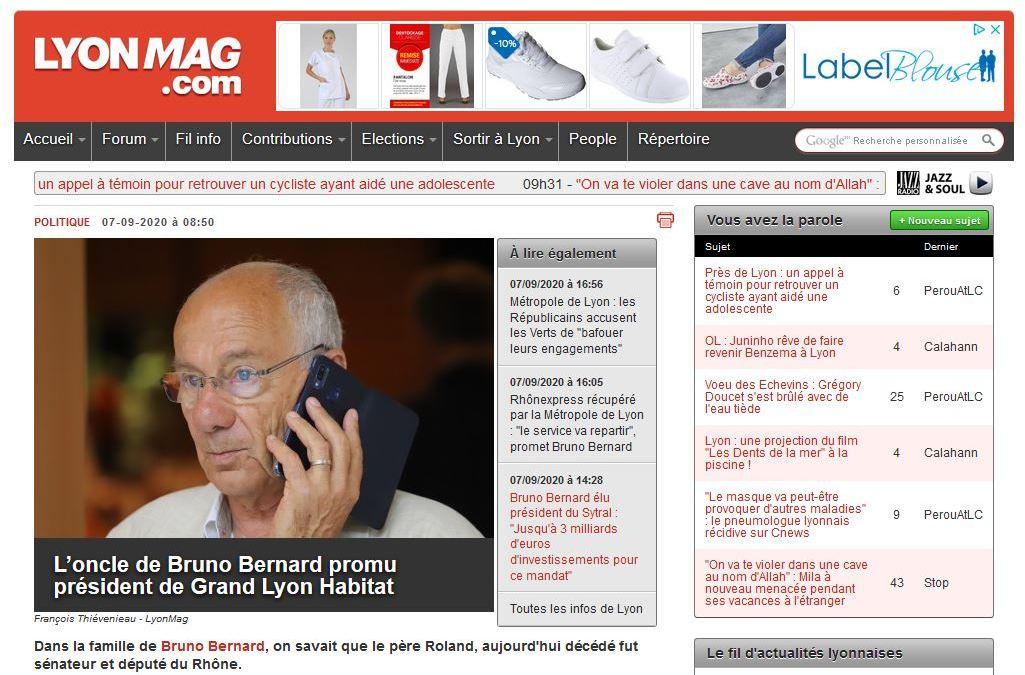 Lyon : l'oncle de Bruno Bernard promu président de Grand Lyon Habitat