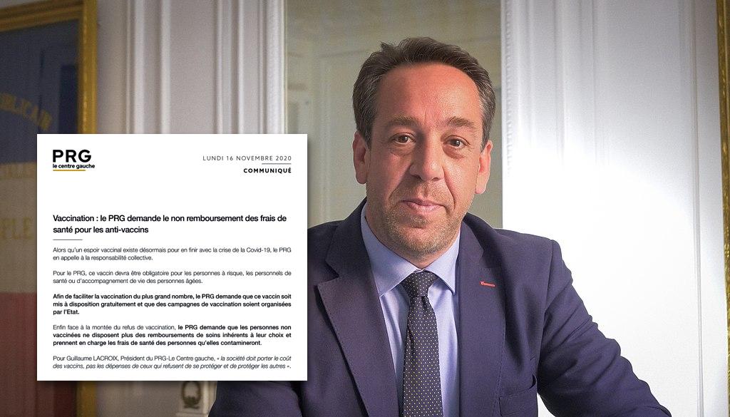 Le Parti Radical de Gauche se prononce contre le remboursement des frais de santé pour les anti-vaccins