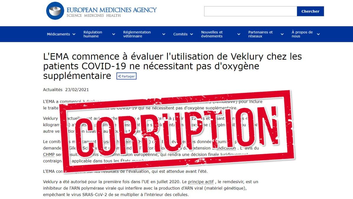 Coronavirus : l'Agence européenne des médicaments va réévaluer d'ici l'été un usage étendu du remdesivir !!!