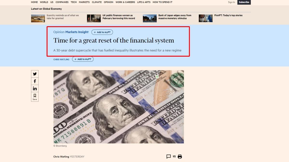 Il est temps de procéder à une grande remise à zéro du système financier.