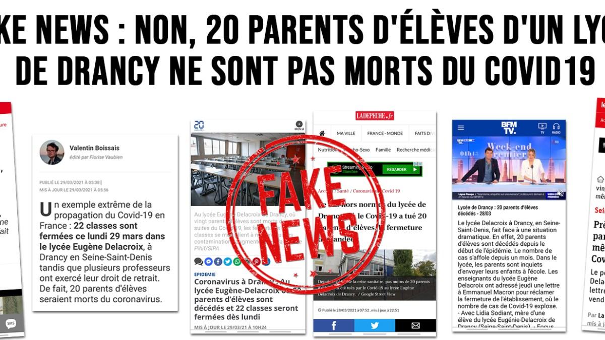 Fake news : non, 20 parents d'élèves d'un lycée de Drancy ne sont pas morts du Covid19 !