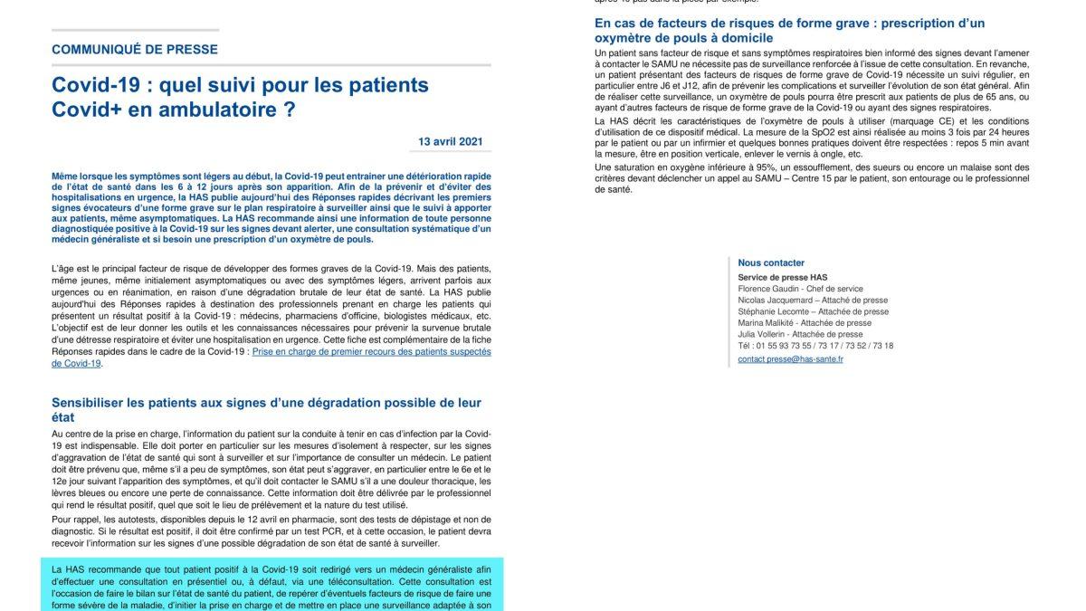 ENFIN : la HAS publie des réponses rapides pour améliorer le suivi des patients Covid-19 en médecine de ville !