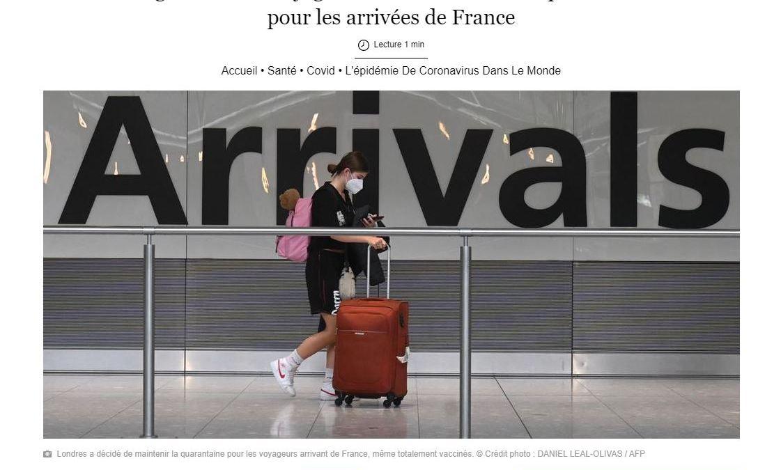 Humour : Paris juge « discriminatoire » la quarantaine imposée aux Français arrivant en GB !