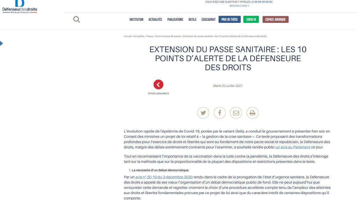 La Défenseure des Droits alerte sur les dangers de l'extension du pass sanitaire !