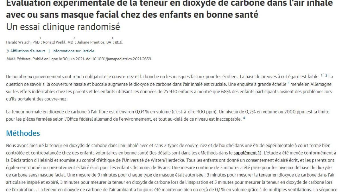 Évaluation expérimentale de la teneur en dioxyde de carbone dans l'air inhalé avec ou sans masque facial chez des enfants en bonne santé