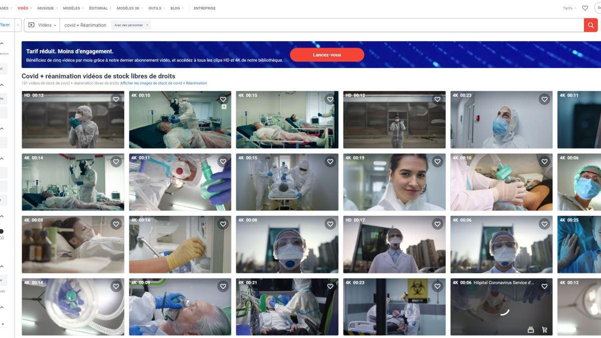 Covid-19 : des comédiens dans le rôle de soignants et malades admis en réa sur la banque de donnée Shutterstock !