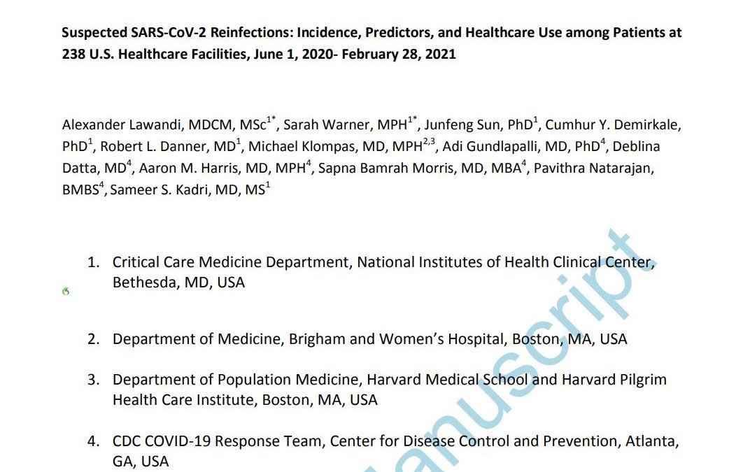 Réinfections au SRAS-CoV-2 : 0.2% sur une cohorte de 131773 patients !