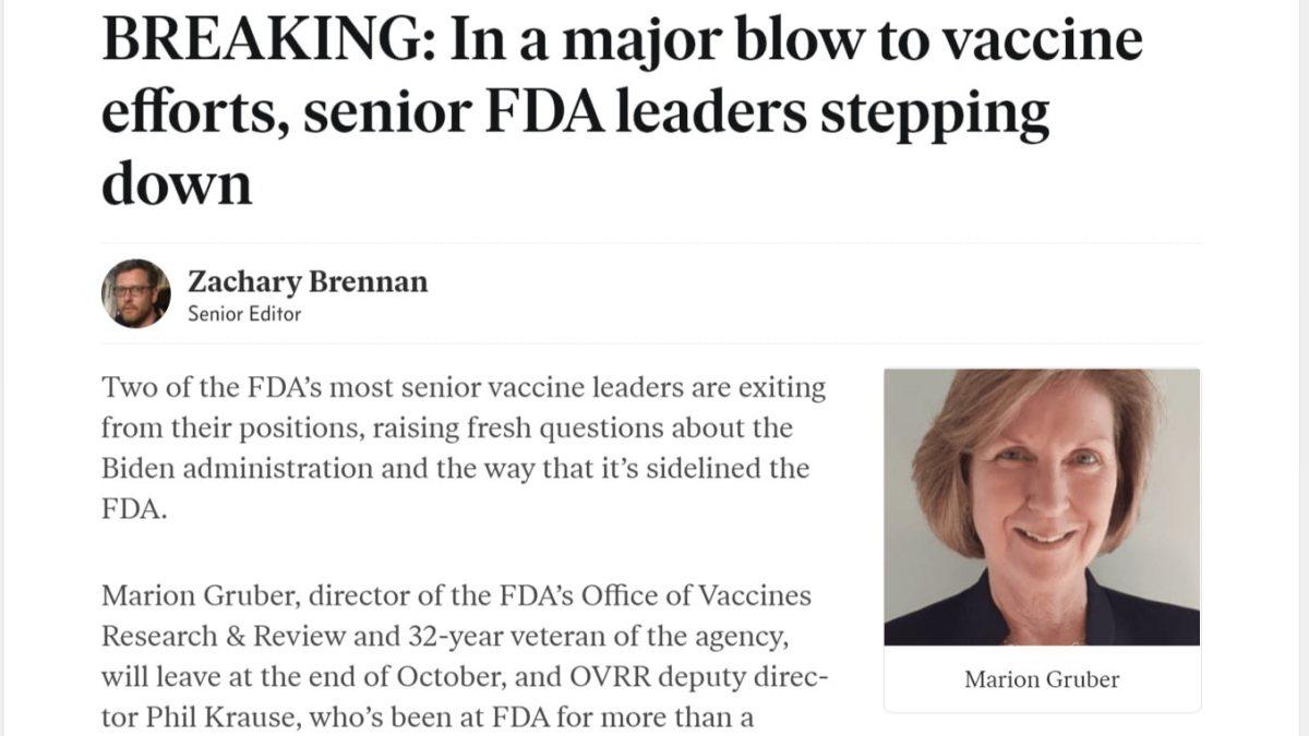 Un coup dur pour les efforts en matière de vaccins : les hauts responsables de la FDA démissionnent