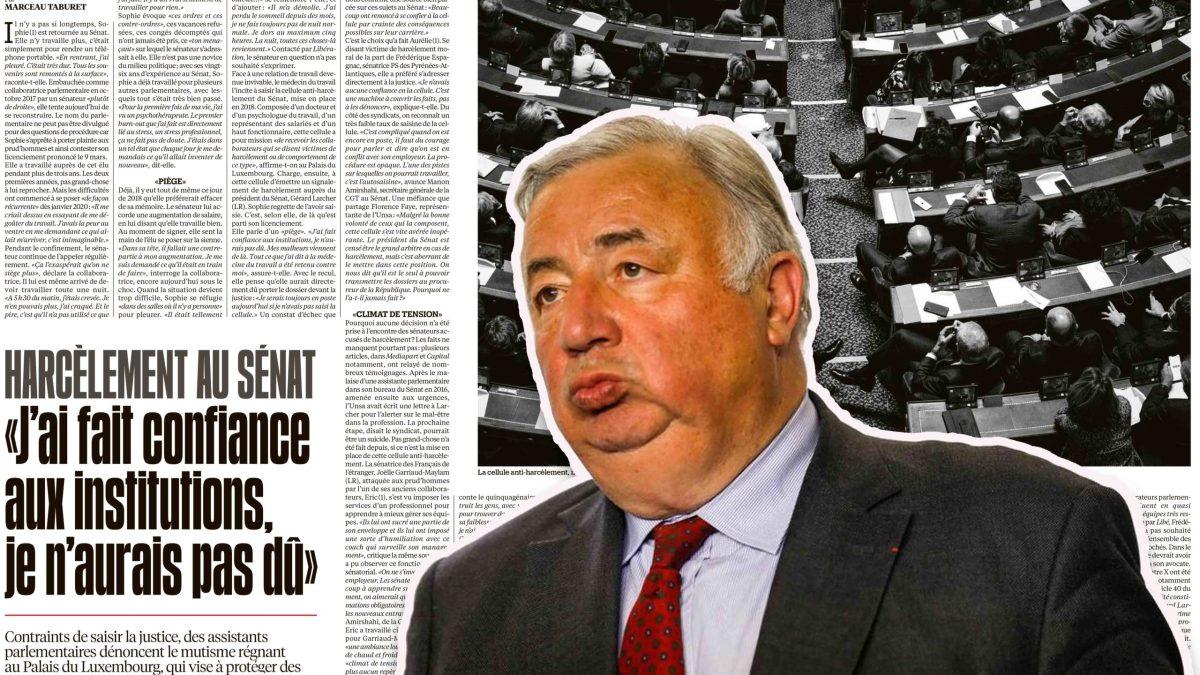 Gérard Larcher sous la menace d'une mise en examen pour avoir refusé de transmettre au parquet des faits de harcèlement au Sénat !