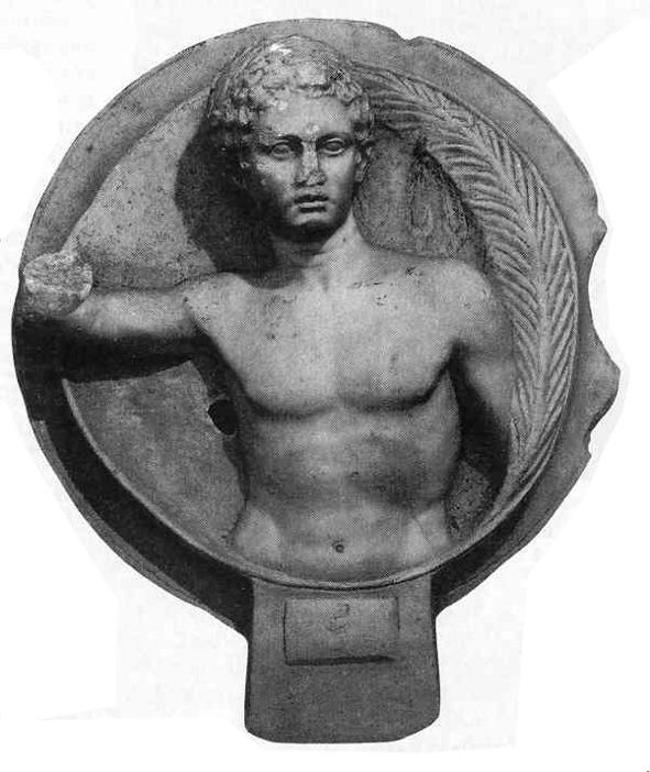 Egy atléta emlékműve vagy halotti tondója (kör alakú alkotás) koszorúval és pálmaággal. A tárgyat Tarsus közelében találták és a Római Birodalom idejéből való (kb. Kr. u. 125-ből)