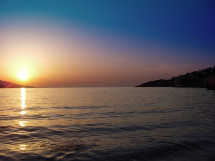 Sunset Samos city