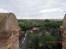 Porta S.Sebastiano: vista dalla torre su Via Appia Antica