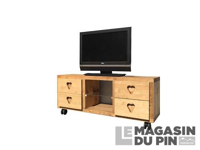 meuble tv cube 4 tiroirs 1 etagere roulettes