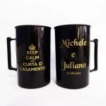 Canecas de acrilico personalizadas Michele e Juliano