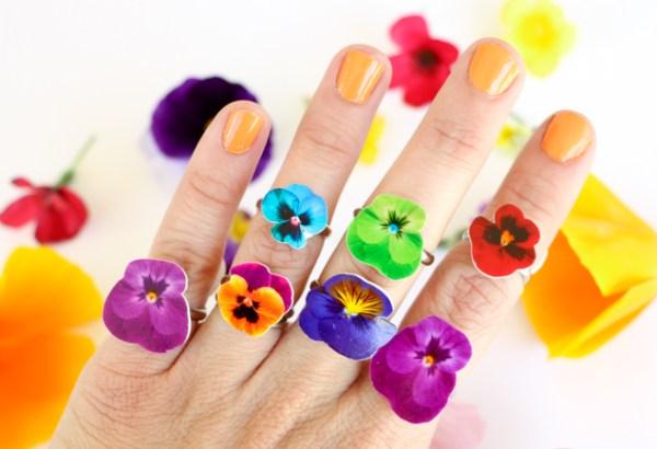 DIY Jolie bague fleurie pleine de pensées