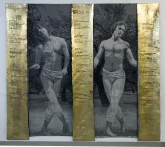 Tissage Jacquard, Coton, laine et lin, papier doré, pigments, 6 000 $