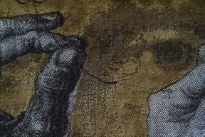 Détail, la Mona Lisa et dessins de mains de Da Vinci, 2016, 108 x 105 cm