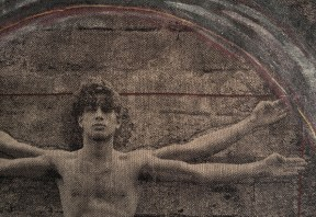 Détail, d'après Da Vinci, L'homme de Vétruve, 2016, 129 x 105 cm
