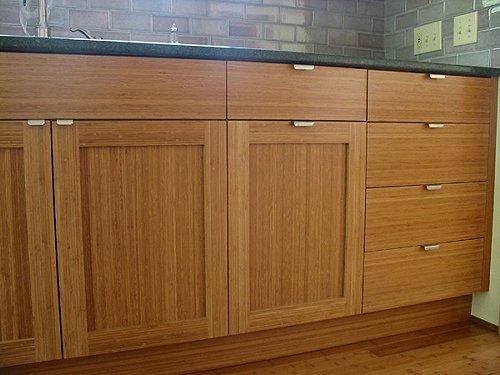 kabinet dapur bambu coklat