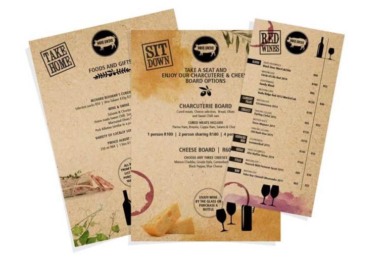 Wine & Swine menus
