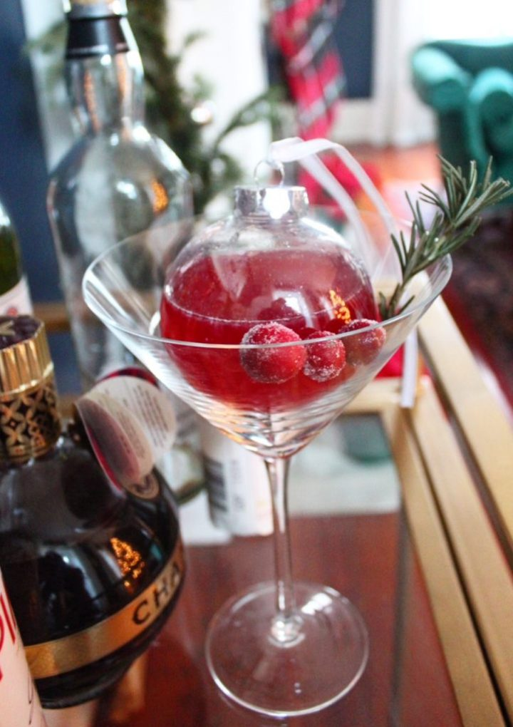 """Christmasthyme"" Christmas Ornament Cocktail for a Party"