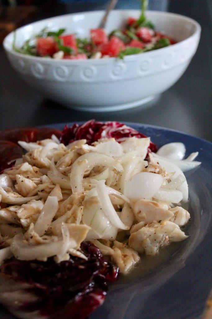 Plate of crab salad