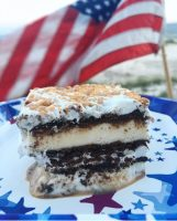 ice cream sandwich cake with American flag in the background