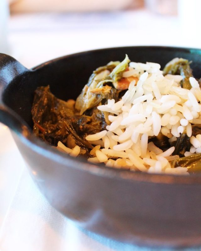 cast iron mini pot of gumbo