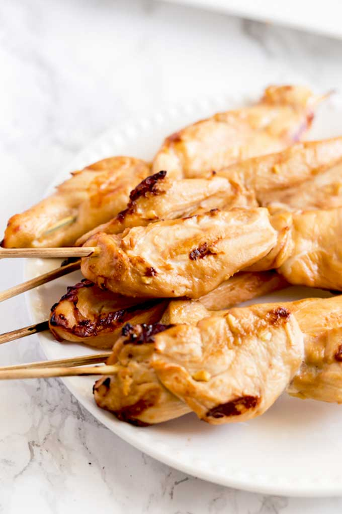 Chicken Skewers on a plate.