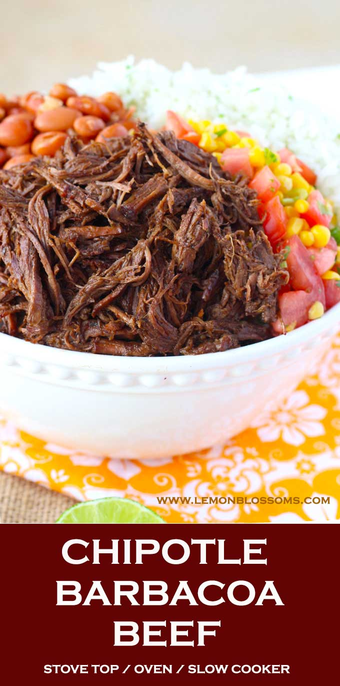 This Chipotle Barbacoa Beef is bursting with flavor. Seared beef cooks in a rich and smoky braising mixture until melt in your mouth fork tender. This Barbacoa Beef is always a crowd pleaser! Stove top, Oven and Slow Cooker Instructions Provided #barbacoa #chipotle #crockpot #oven #stovetop #recipe #copycat #Mexican
