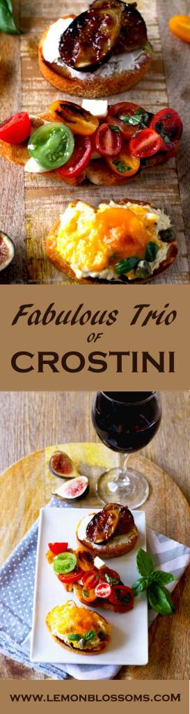 Caramelized Figs with Honey and Goat Cheese, Tomato, Mozzarella and Basil with Balsamic Reduction and Tuna Melt with Capers Crostini are the perfect crostini trio for entertaining. Easy to make and sure to impress your guests.