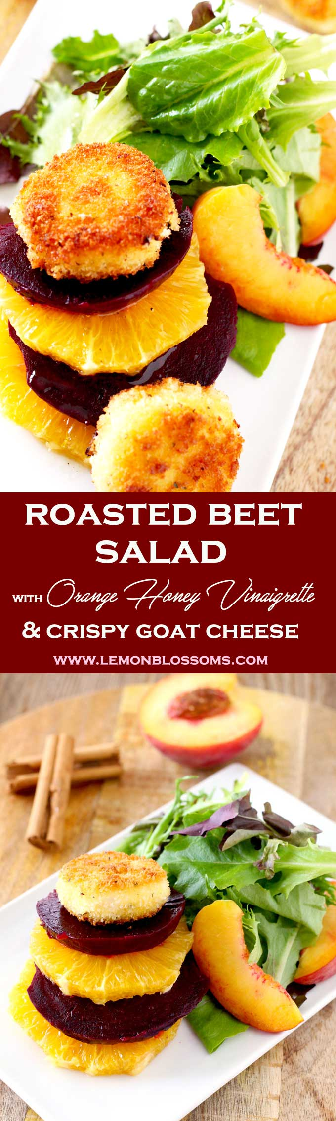 This Roasted Beet Salad is amazing! Tossed in a delicious Orange Honey Vinaigrette with oranges, peaches and mixed greens. Topped with crispy and golden goat cheese coins that are super creamy inside! Perfect for special occasion or any day of the week! #salad #roastedbeets #beets #goatcheese #crispycheese