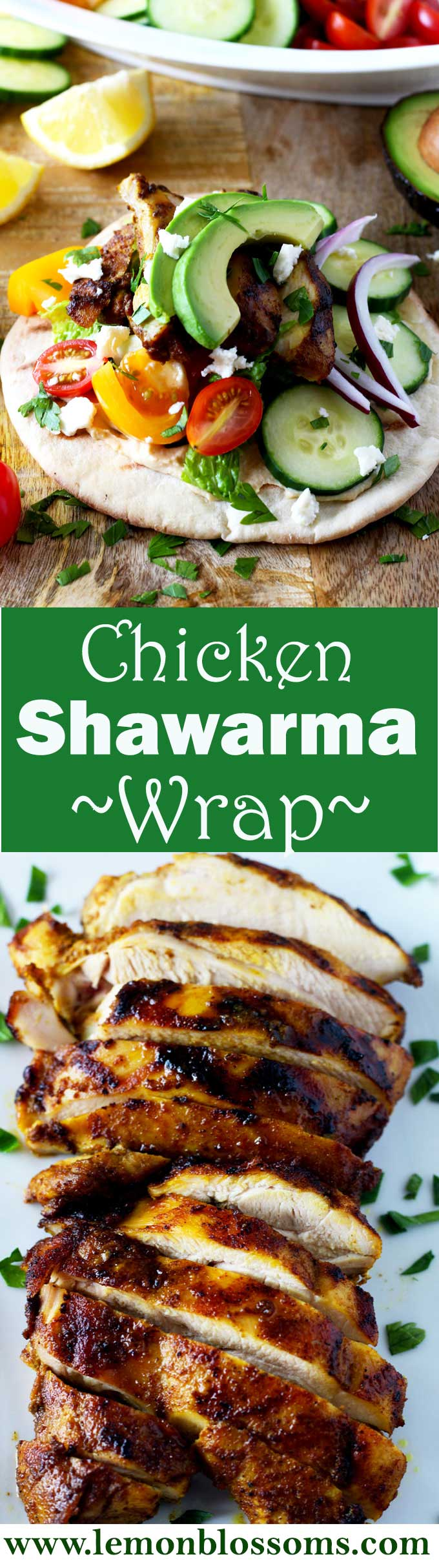 Enjoy this easy homemade version of Chicken Shawarma Wrap, a Middle Easter favorite. The spice-marinated chicken is cooked in the oven or on the grill and wrapped on a pita bread. Add hummus, and top it with cucumbers, tomatoes, onions, avocado, feta cheese and more!