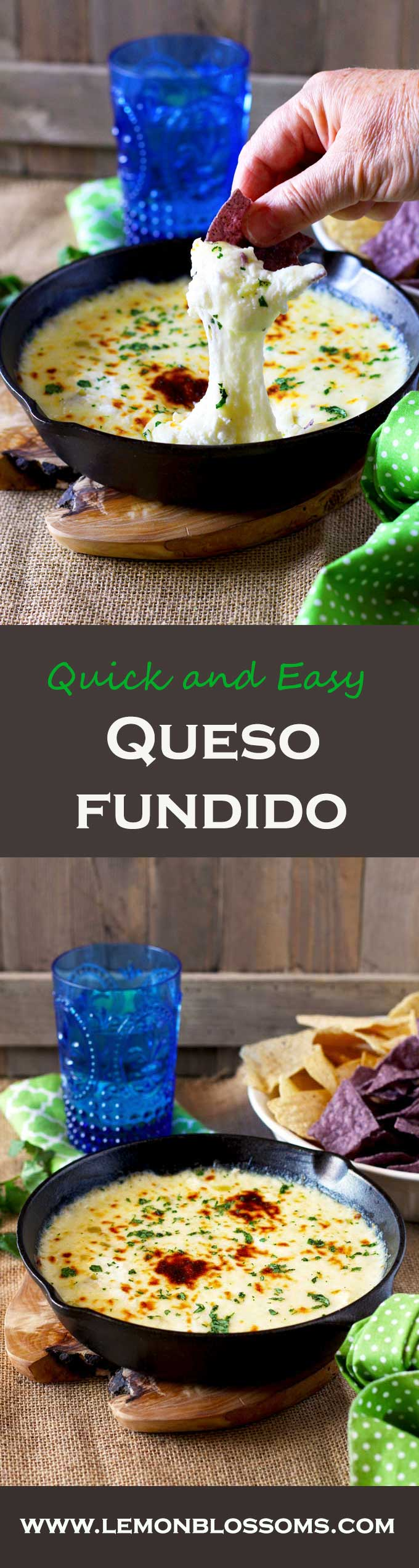 This Queso Fundido dip is gooey, melty and delicious. Crumbled goat cheese takes this easy-to-make dip to the next level!