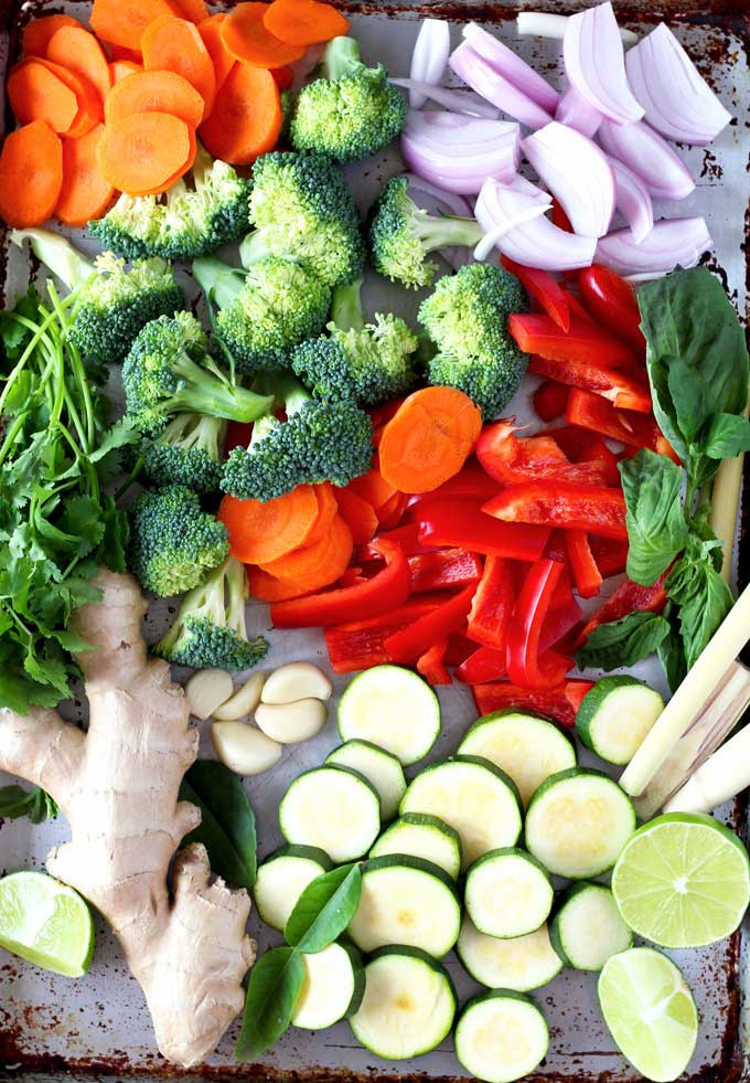 This homemade Thai Red Chicken Curry with Vegetables is one of my go-to-meals. It is extremely flavorful, healthy, easy to make and all those vegetables make me happy! Serve it with white, brown, red rice or quinoa for a well-rounded meal.