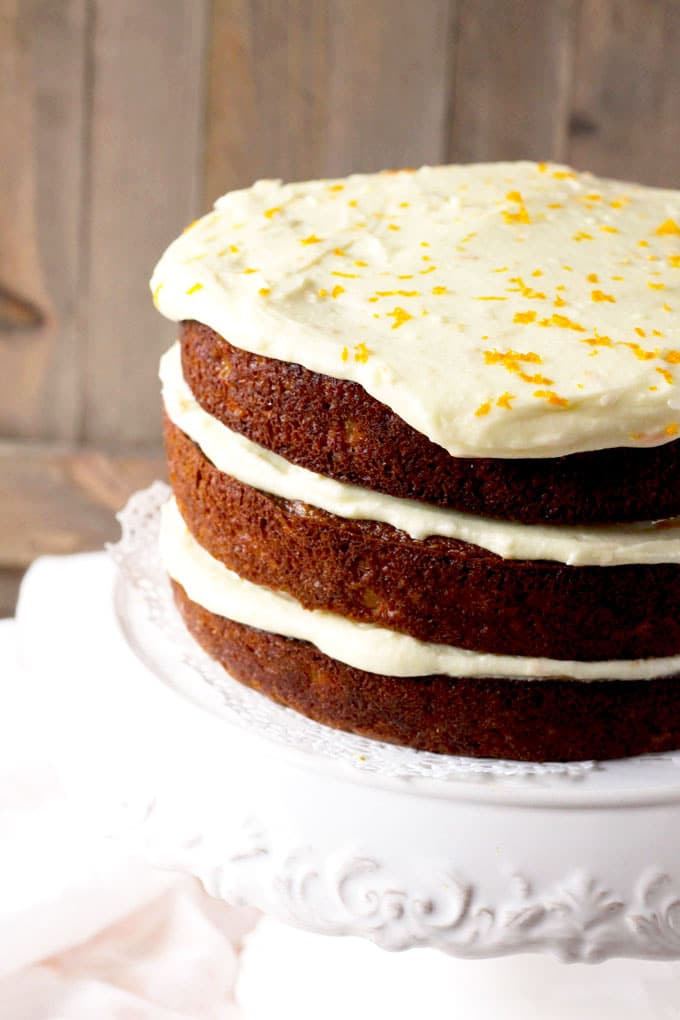 Moist and incredibly flavorful, this Carrot Cake with Orange Grand Marnier Cream Cheese Frosting is delicate and perfectly balanced. The fluffy Orange Grand Marnier Cream Cheese Frosting is amazing and brings this cake to another level of deliciousness!