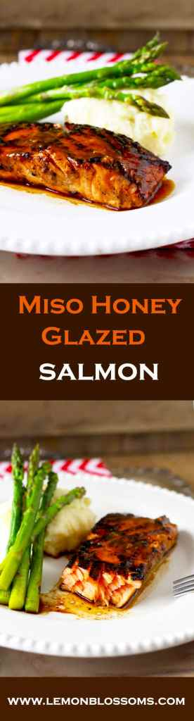 Quick, easy, healthy and light. This 4-Ingredients Asian inspired Miso Honey Glazed Salmon is delicious and full of great flavor!