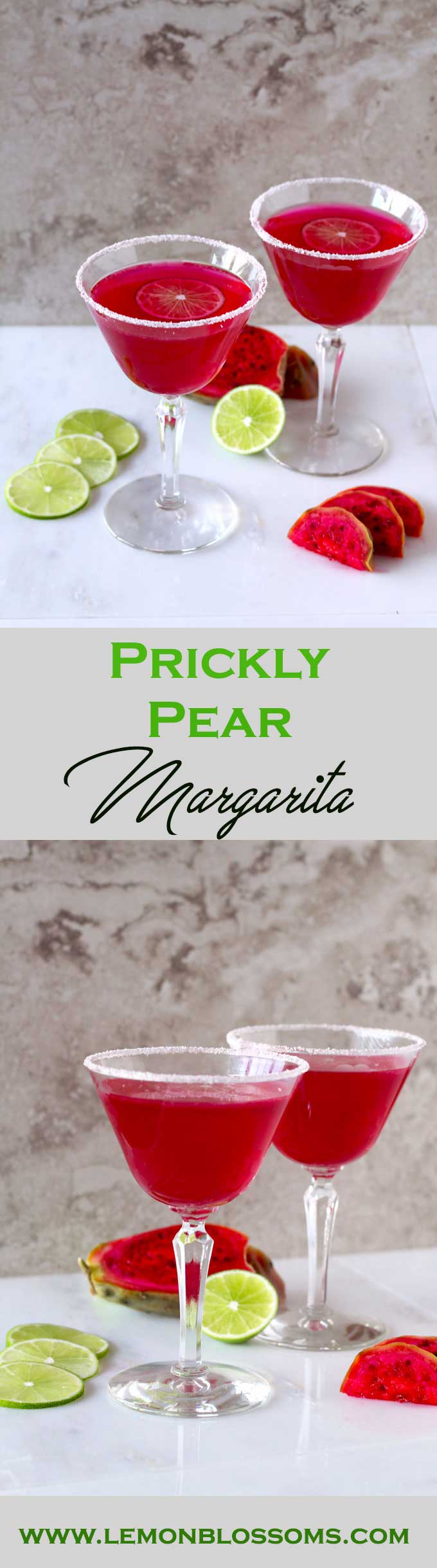 Hot pink and beautiful. This Prickly Pear Margarita is easy to make and super tasty!