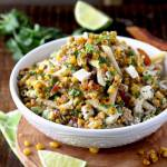 This Mexican Street Corn Pasta Salad is loaded with flavor! Charred corn, pasta, crumbled bacon and Cotija cheese are tossed in a creamy chili-lime cilantro dressing. This Mexican Pasta Salad is a delicious and easy Mexican side dish sure to become a favorite!