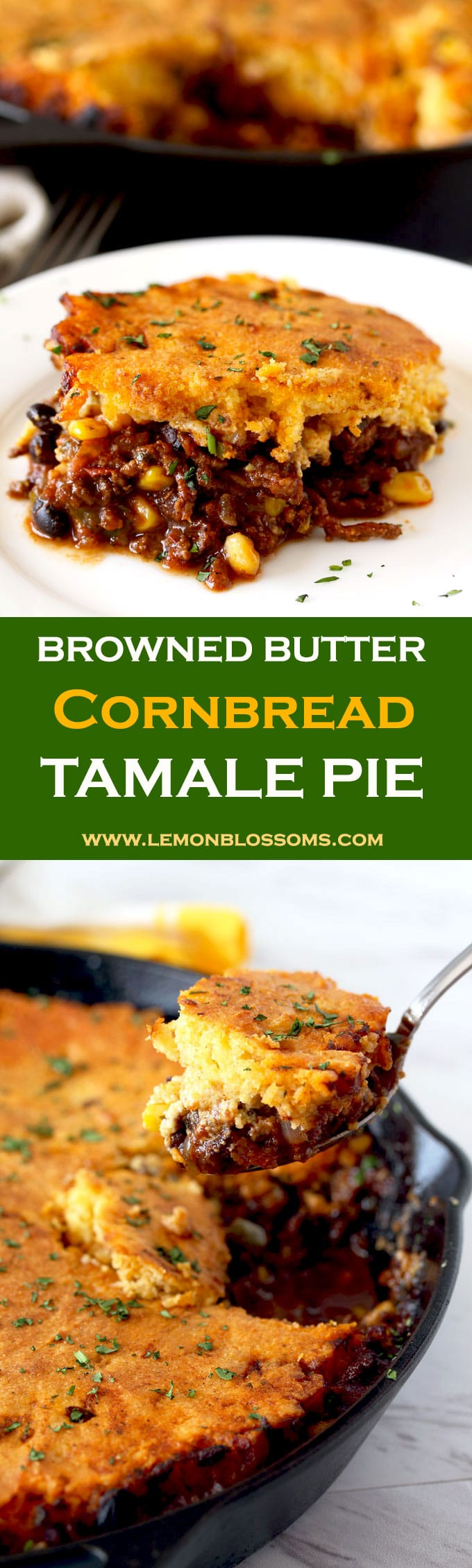 This Browned Butter Cornbread Tamale Pie is bursting with Tex Mex flavors. Spiced ground beef chili seeps through a delicious homemade browned butter cornmeal topping. The ultimate comfort food!