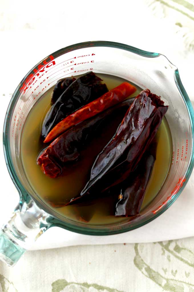 Dried chiles and broth warmed up in the microwave