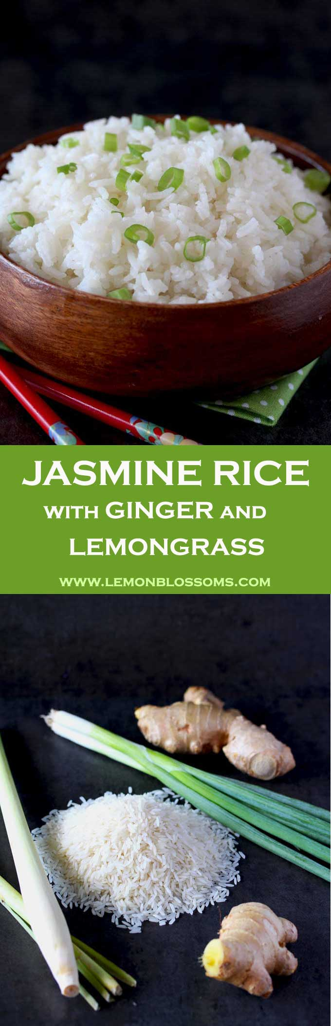 This Jasmine Rice is light, fluffy and aromatic. Infused with the warmth of ginger and the bright citrus flavors of lemongrass. The perfect accompaniment for Asian inspired dishes. Plus my secrets for making the perfect fluffiest rice!
