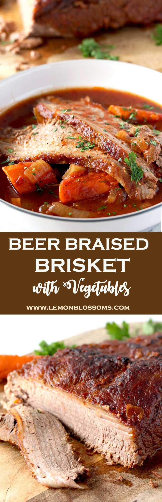 This incredibly tender Beer Braised Brisket with Vegetables is richly flavored, succulent and delicious. Cooked low and slow in beer and crushed tomatoes until mouthwatering perfection. With onions and carrots this is the perfect make ahead dinner party dish!
