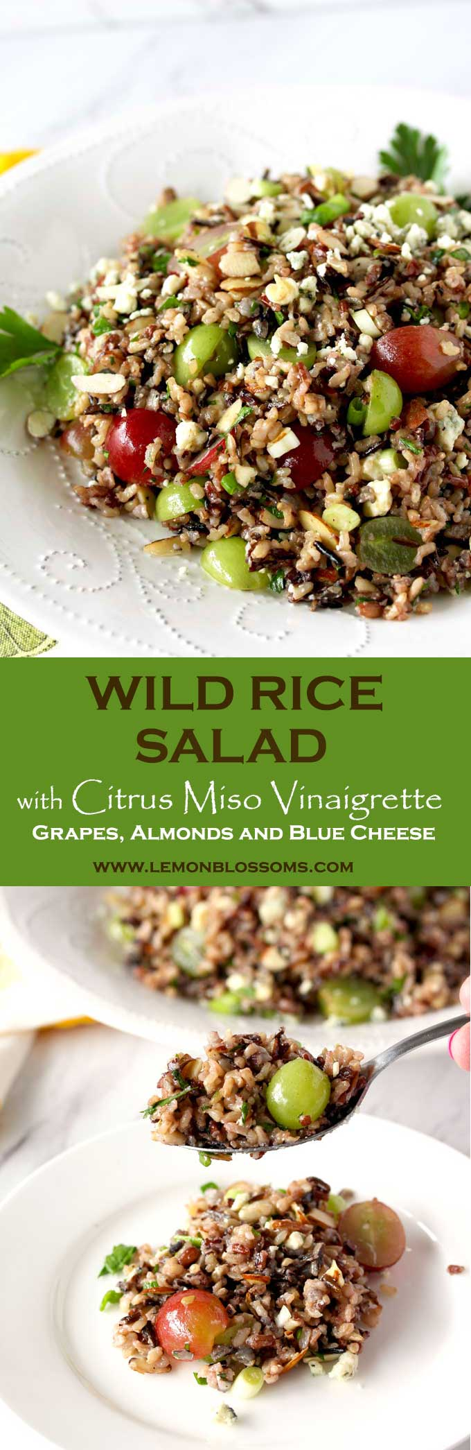 This Wild Rice Salad with grapes, almonds and blue cheese is tossed with the easiest, most flavorful Citrus Miso Vinaigrette. The Perfect served as a salad or side dish.