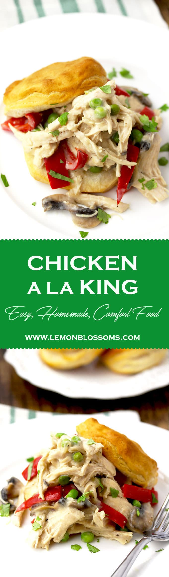 This creamy Chicken A La King recipe is pure comfort food. Made with chicken, mushrooms, red bell peppers and peas in a tasty white sauce. Serve it over biscuits, toast, rice or in a pastry shell for a fancier presentation! #chicken #recipe #classic #chickenalaking #easy #healthy #biscuits