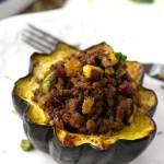 Ground Beef Stuffed Acorn Squash Moroccan Style