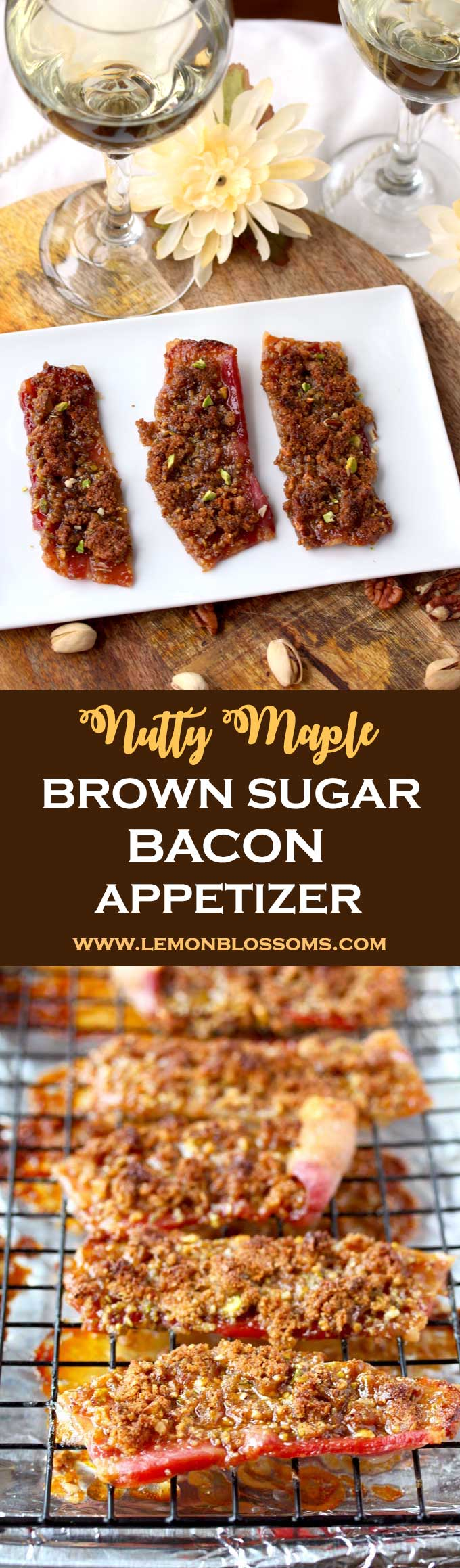This Maple Brown Sugar Bacon Appetizer is very easy and quick to make. Sweet, savory and nutty. This mouthwatering treat is perfect for cocktail parties, game day or casual nights at home! #bacon #brownsugar #party #appetizer #gameday #tailgating #easy