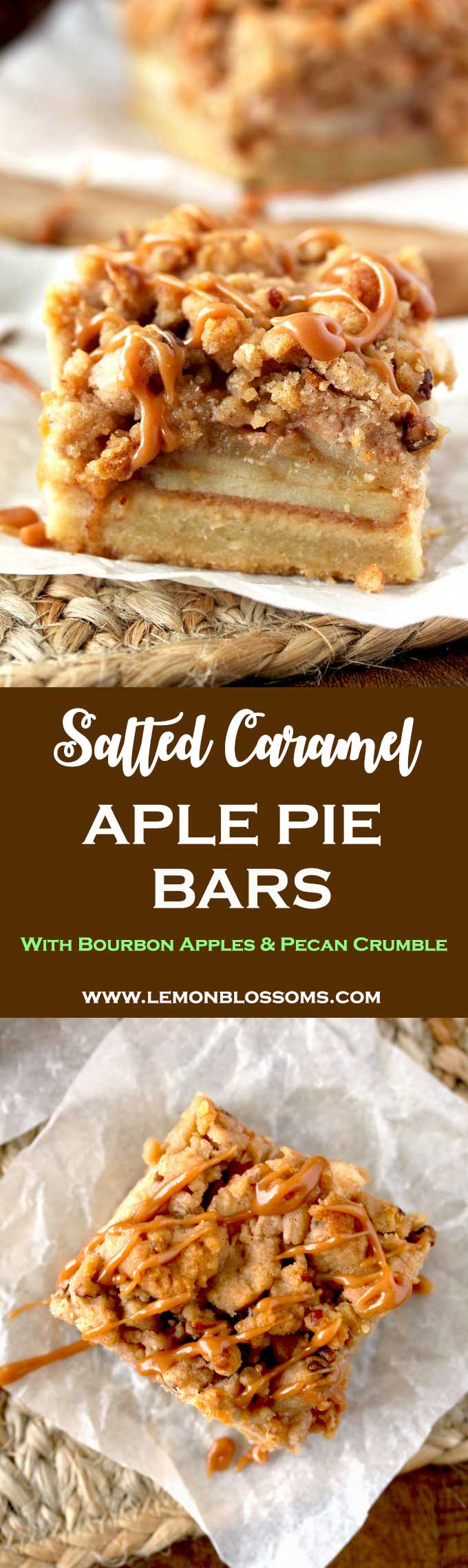 These Salted Caramel Apple Pie Bars are the perfect portable sweet bite. A perfectly flaky shortbread crust, bourbon sweet apples, pecan crumb topping, and the most addicting salted caramel drizzle make the best dessert bars! #applepie #baking #sweets #dessert